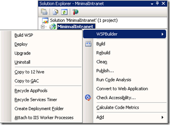 WSPBuilder - Visual Studio commands