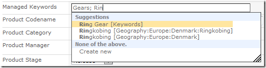 sharepoint 2010 managed keywords