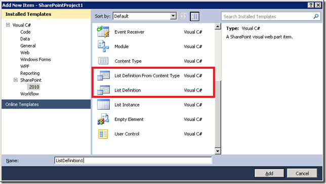 vs2010 list definition template missing file dialog view at sharepoint config