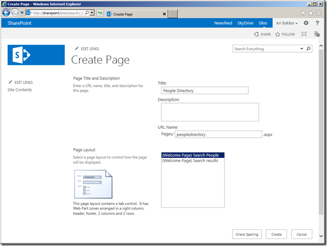 sharepoint create people results page