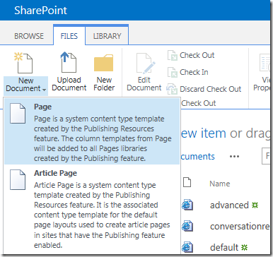 sharepoint new page